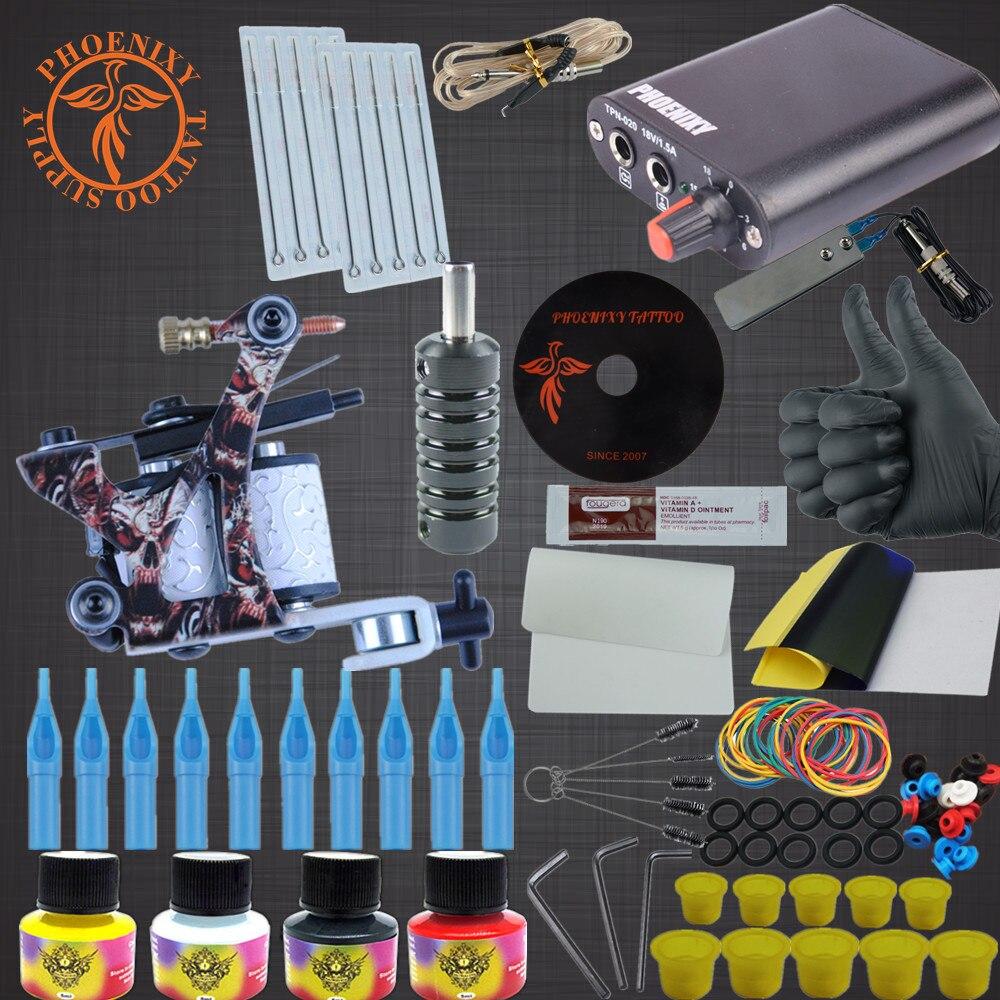 Professional Tattoo Kit Tattoo Machines 6 Colors Ink Power Supplies Box Grips Body Arts Supplies Needles Tattoo Beginner Kits<br>