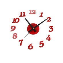 Creative 3D Sangtai6168s Mute DIY Digital Wall Clock Decorative Acrylic Sticker Watch Fashionable Red/White/Black Wall Clock