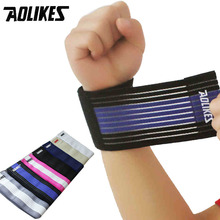 1 Pair Bandage Wrist Support Wristband Aolikes Brand Sports Bracers Anti-sprain Basketball Football Sports Wrist Protector(China)