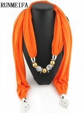 [RUNMEIFA] Elegant Women Ladies Girls Necklace Scarves Pendant Jewelry Tassels Scarf Shawl(China)