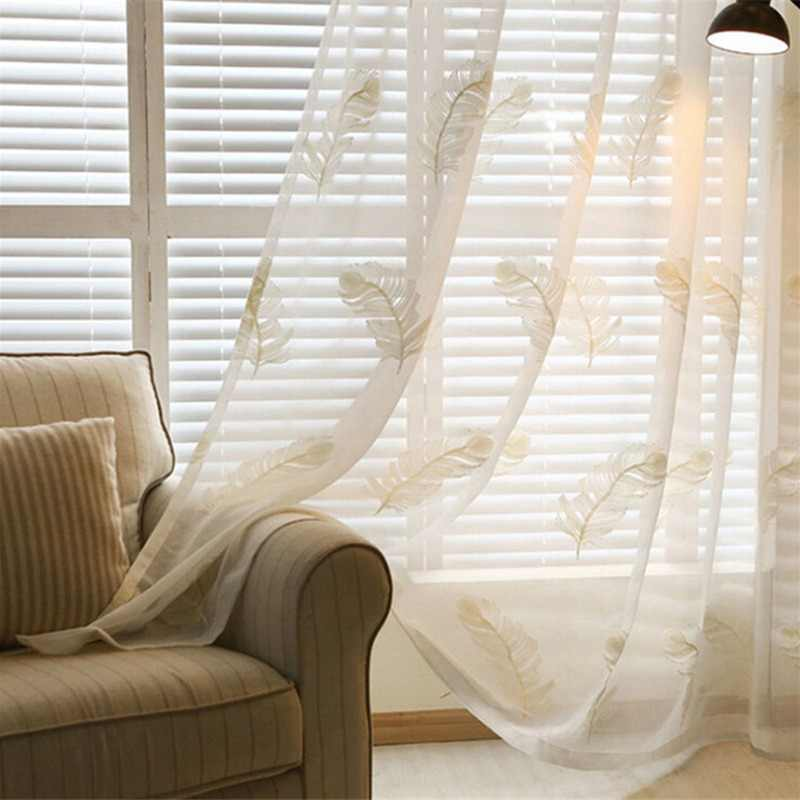 Janpese Style Embroidered Tulle Curtains For Living Room Modern White Sheer Curtains For Bedroom Linen Window Curtains Fabric