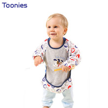 High Quality Waterproof Cotton Bibs Babies Wear Long Sleeve Overclothes Baby Bibs Feeding Care Boys Girls Infants Burp Clothes(China)