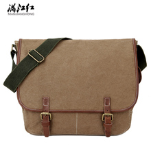 Sky fantasy fashion canvas with crazy horse leather men cross-body messenger bag vintage casual classic satchels vogue handbag