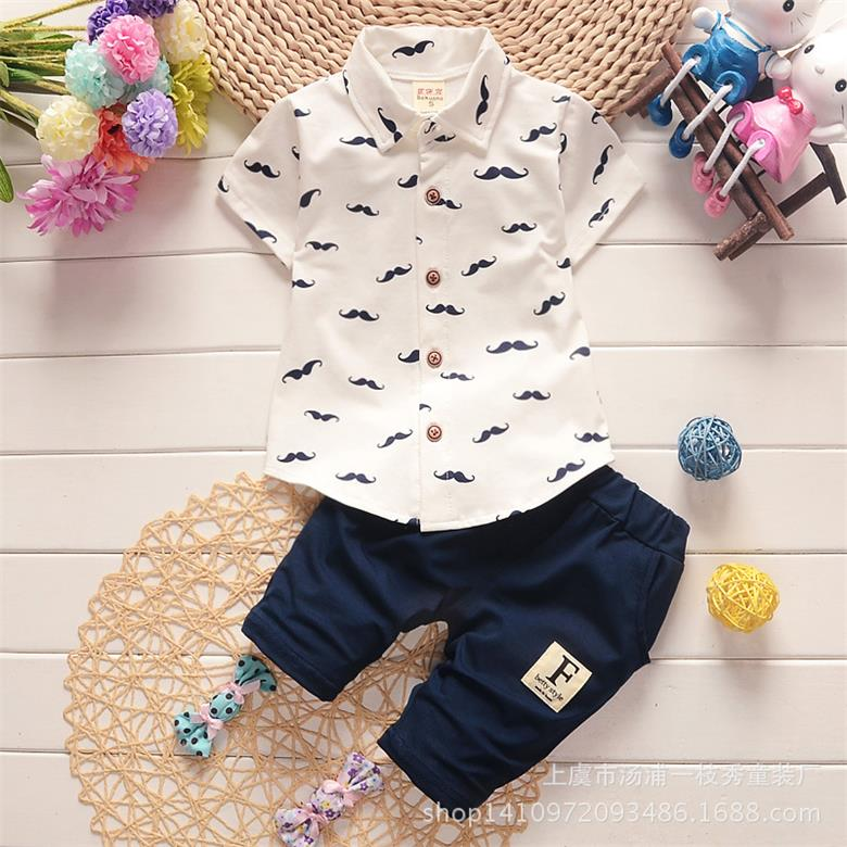 2016 new male childrens clothing baby summer suit children casual cotton short-sleeved shirt +pants sets<br><br>Aliexpress