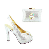 233 Fashion Silver Rhinestone High Heels Shoes And Bag Newest Italian Shoes And Bag Crystal Woman Pumps Adult Sandals Online