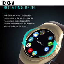 Original rotating bezel round watch full screen smart watch AS2 1: 1 bluetooth heart rate monitor for ios android phone(China)