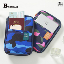 BAGSMALL Camouflage Passport Wallet SD Card Holder Multifunctional Certificate Travel Bills Bag Passport Cover ipad Mini Case