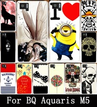 AKABEILA Soft TPU Hard PC Cell Phone Cases For BQ Aquaris M5 Cover Case Cool Skull Head Phone Skull Life Bags Skin Shell Hood(China)