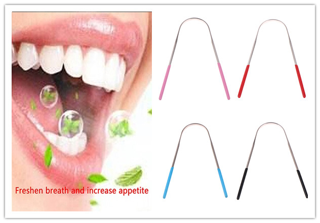 1PCS Tongue Cleaning Brush Stainless Steel Silica Handle Tongue Cleaner Oral Hygiene Tongue Scraper Dental Oral Care 4 Colors