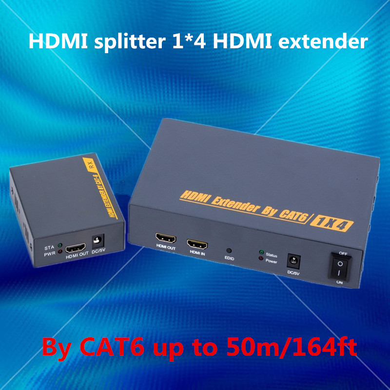 HDMI splitter 1X4 HDMI extender 50m by Ethernet RJ45 cat5e/6 cable support loop output &amp;3D (1 HDMI transmitter&amp; 4 HDMI receiver)<br><br>Aliexpress