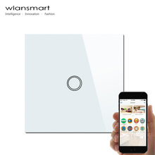 Wlansmart EU 1Gang phone Remote Wall light Switch control by broadlink rm pro  Smart home automation Switch Touch Screen Panel