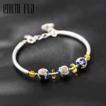 Buy 925 Sterling Silver Chinese Style Original Bangle Cloisonne Enamal Bracelet Fashion Ethnic Jewelry Women Bracelets Bead for $29.98 in AliExpress store