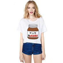 Summer Style 2017 Funny T Shirts Femme Kawaii Food 3D Digital Print Crop Top Women Clothing Cropped Camiseta T-shirt Clothes