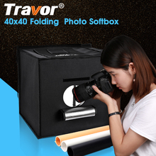 Travor 40cm LED Folding Photo Studio Softbox Shooting Light Tent 5500K led strip with three color background(China)