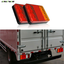 1 Pair 8 LED Car Truck Tail Light Warning Lights Rear Lamps Waterproof Tailights Rear Parts for Trailer Truck Boat DC 12V