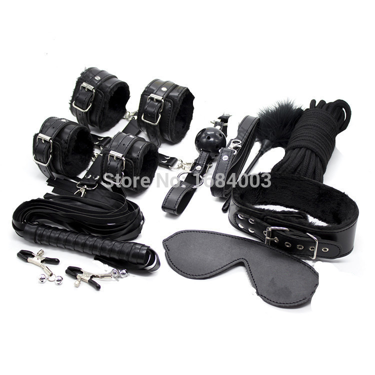 Adult Games 10 in 1 Black Heavy Leather Faux Fur Lined Bondage Set Kit Cuffs Whip rope Collar Party Fetish Toy<br>