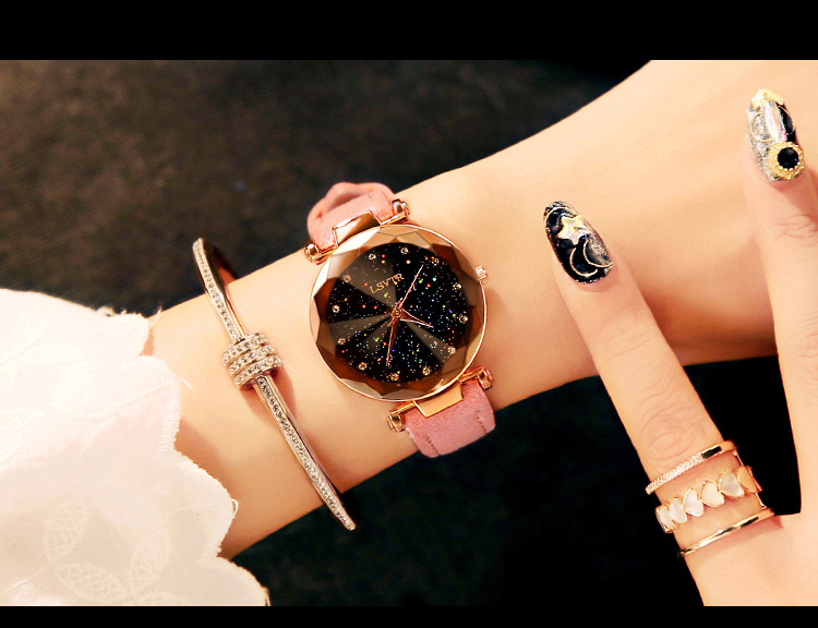 18 Luxury Brand Gogoey Women Watches Personality romantic starry sky Wrist Watch Leather Rhinestone Designer Ladies Red Clock 12