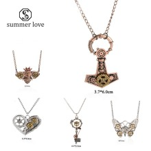 Retro steampunk silver key pendant bead chain necklace with jewelry card punk costume joyeria llaveros collares 9 styles(China)