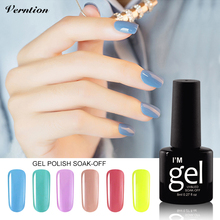 Verntion Uv Color Gel Glitter Acrylic Nail Polish Semi Permanent UV Soak Off Gel Lucky The Gel Varnish with Lamp and Lacquer(China)