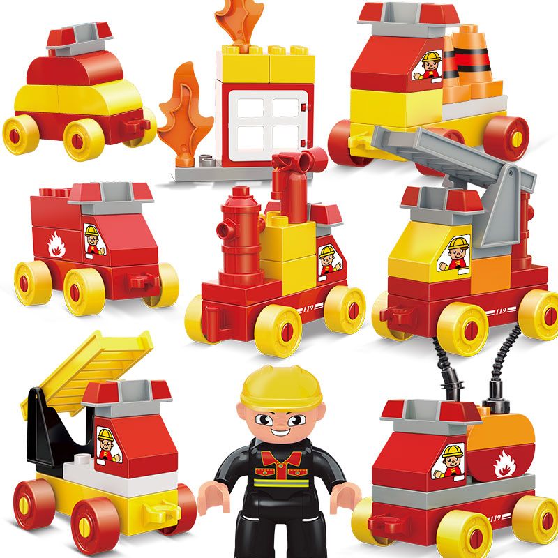 New 10017 &amp; 10018 Big Bricks Building Blocks Baby Toy First Brick Firefighting Engineering Educational Toys Compatible<br><br>Aliexpress