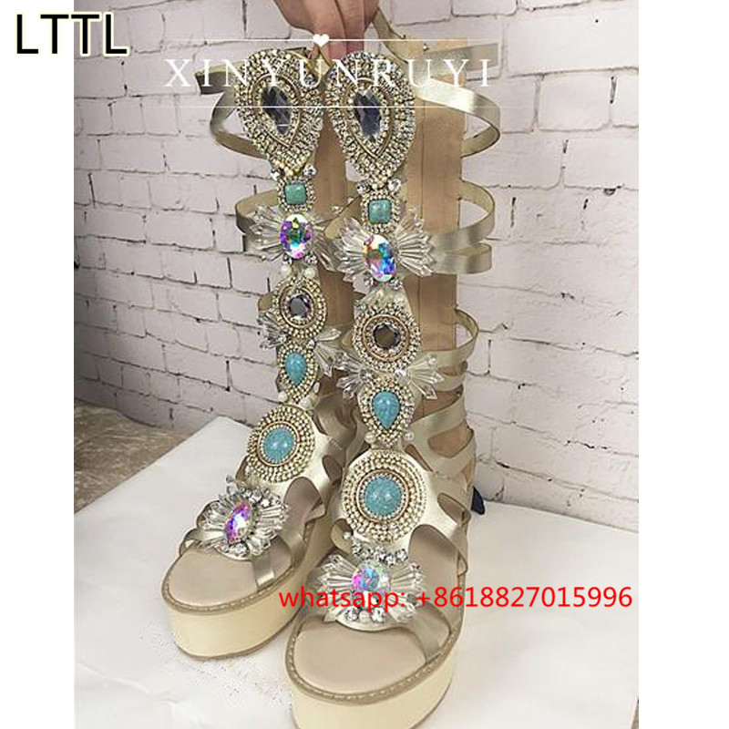 2016 Europe Version Of The Summer Women Shoes Fashion Rhinestone Wedges Lace-Up Gladiator Gaotong Open Toe Sandals US Size 5-9<br><br>Aliexpress