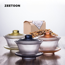 170ml Boutique Colored Glaze Gaiwan Glass Master Tea Cup and Saucer Teapot Lid Blow 500g Yunnan Dianhong Red Biluochun Black Tea(China)