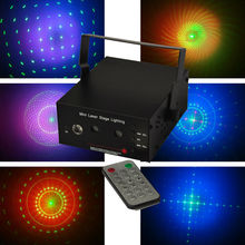 Freeboss M02 150mw Red and Green Remote Multi Effect 12V Mini disco Laser Light projector with MP3 and LED
