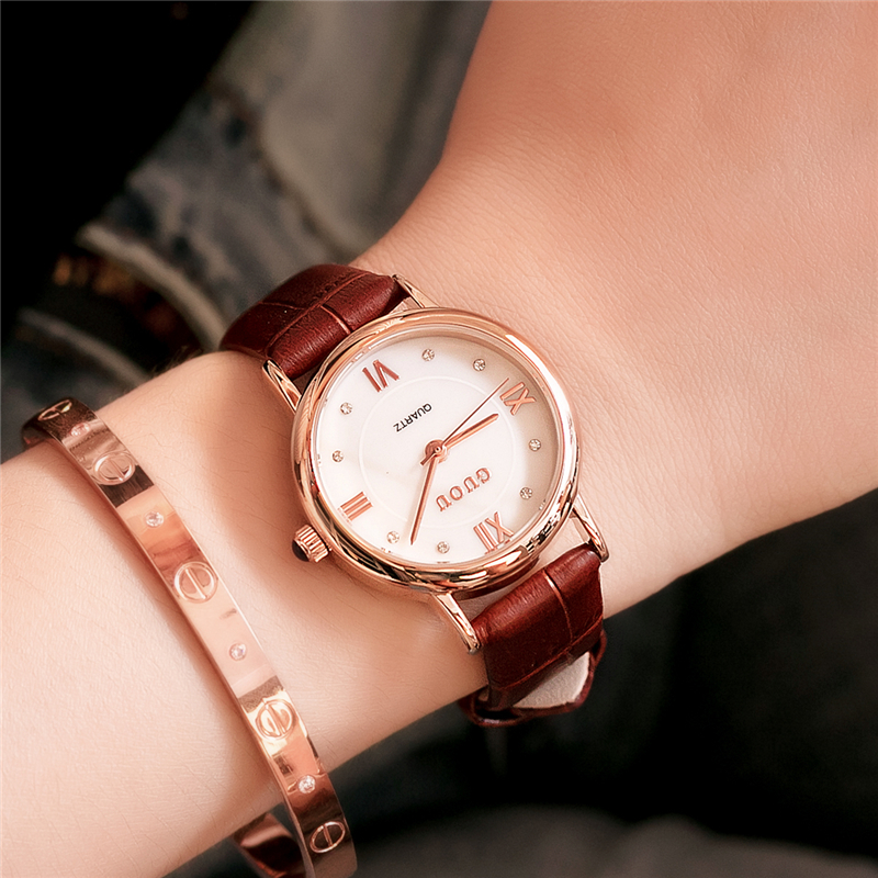 GUOU reloj mujer 2017 Luxury Vintage Women Watch Fashion Casual Rhinestone Ladies Quartz Watches Rose Gold Women Clock Black<br>