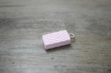 30 Pcs/lot pink Waffle Sticks Miniature Sweets Charm DIY Cell Phone Deco Jewelry Making Finding Key chain