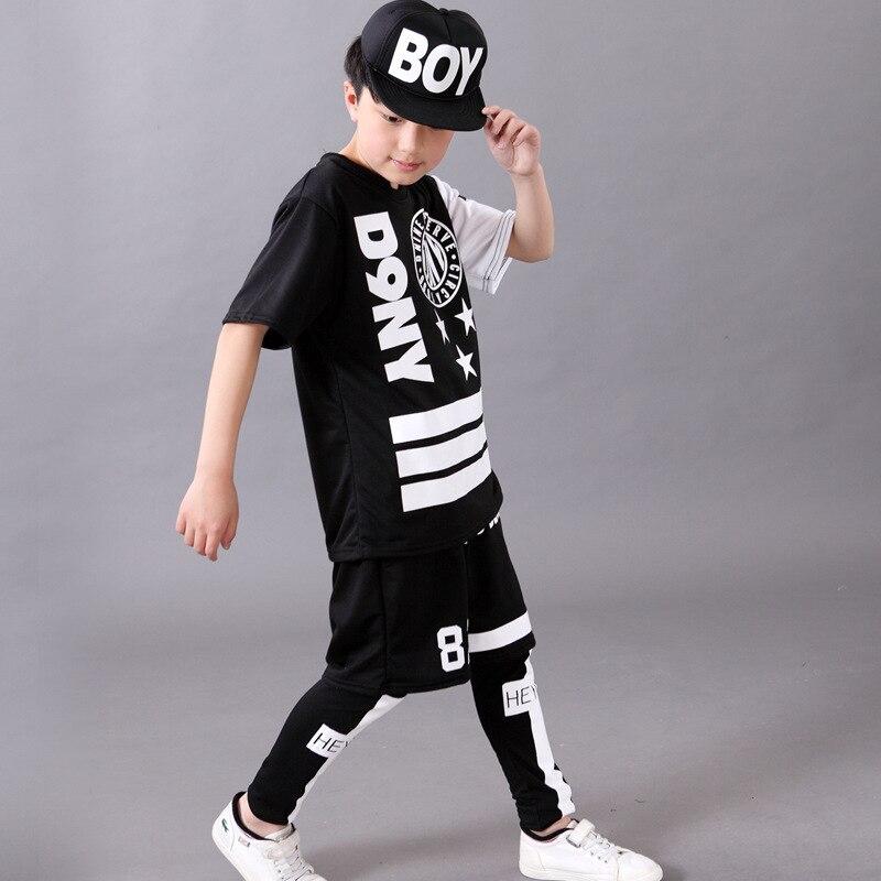Summer New Childrens Days Boys Short Sleeve Costumes Trendy Letter Pentagram Jazz Dance Hiphop Kids Individual Clothing Set<br><br>Aliexpress