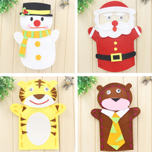 EVA Cloth Cartoon Animals Tiger Frog Santa Claus Snowman Finger Hand Puppet Doll Kids DIY Assembling Puzzles Educational Toys
