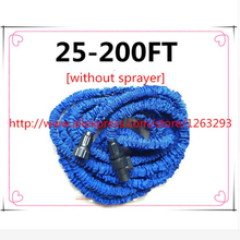 Free shipping expandable 25FT-200FT Garden hose reels Water valve blue watering water hose connector[without sprayer]