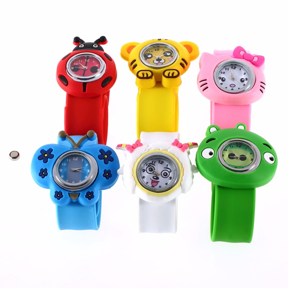 Boys Girls Children Watch 1pcs New Fashion Animal Slap Snap On Silicone Wrist Watch Kids Gift Animal Cartoon Silicone Gel color(China (Mainland))