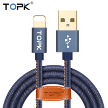 For iPhone Cable IOS 10,TOPK Cowboy Braided Flat PVC Wire Sync Data Charging USB Cable for iPhone 7 6 6s Plus 5 5s iPad Air