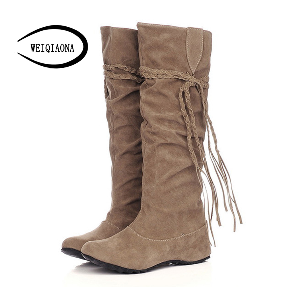 WEIQIAONA size 34-43 New fashion women boots sweet Pleated Suede slip-on flat boots Height Increasing  knee high boots women <br>