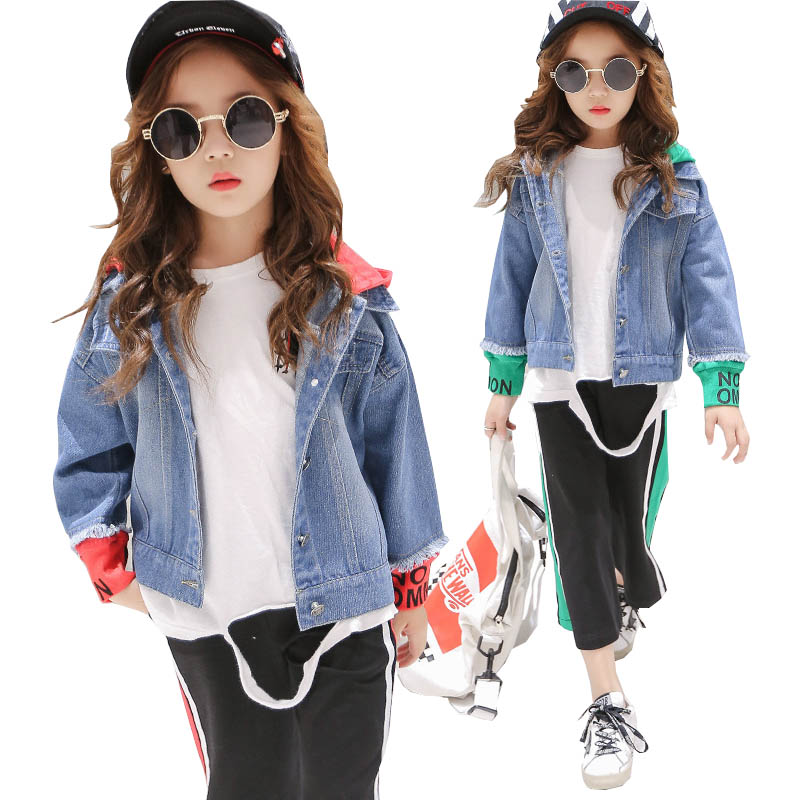 Girls clothing set girl fashion suit teenage girls clothes school children clothes jeans coat + long pants 2pcs kids tracksuit<br>