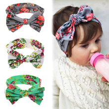 1 New Baby Girls Toddler Infant Newborn Flowers Print Floral Butterfly Bow Hairband Turban Knot Headband Hair Band Accessories(China)