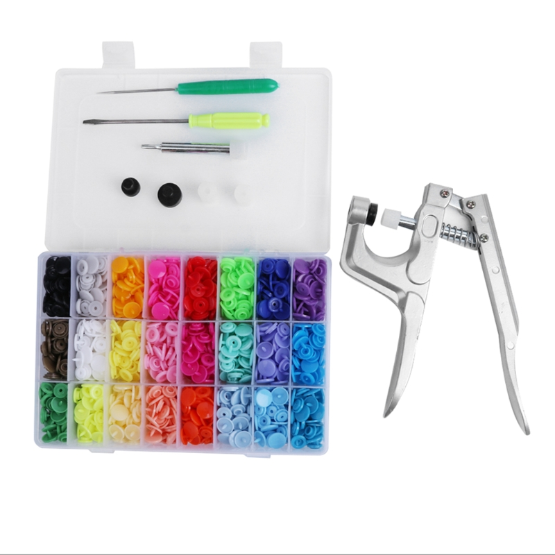 Well Packaged Box 24Color 360 Set T5 Snaps Snaps and plier Tool Plastic Snaps and plier
