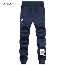 ASALI Brand Men joggers 2017 Spring Summer Linen Cotton Trousers Cool Long Pants Men Solid Elastic Natural sweatpants Pants K51(China)