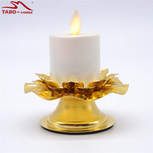 Candle Stand & LED Tealight Set Realistic Dancing Flame Rechargeable Tea Light Candle with Golden Candle Holder for Religious