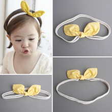2016 New Fashion Korean Princess Headband Yellow Dots Rabbit Ears Bow Hairbands Girls Headwear Kids Hair Accessories