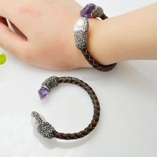 Fashion 4Pcs Natural Pearl & Stones Quartz With Crystal Zircon Leather Cord Bracelets, Druzy Jewelry Bangle
