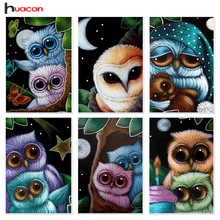 HUACAN Diamond Mosaic Embroidery Owl Patterns Handmade Craft Gift Full Round Diamond Painting Cross Stitch Animals Home Decor(China)