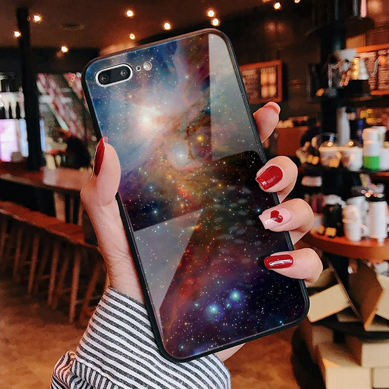 TOMKAS Luxury Space Cover Case for iPhone X Xs Max Xr Xs Glass Silicone Phone Case for iPhone 7 8 Plus Cases for iPhone 6 S 6s (24)