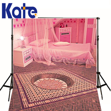 Wedding Backgrounds Pink Bad Table Luminescent Lamp Bedroom Boudoir Photography Mood Red Wall Backdrops Scenie Photo Shoot Kate