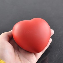 1pc Cute Elastic Rubber Stress Relief Ball Heart Shaped Exercise Stress Relief Squeeze Soft Foam Ball(China)