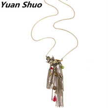 Yuan Shuo Fashion personality Collocation sweet retro European and American lady sweater chain Character style tassel necklace(China)