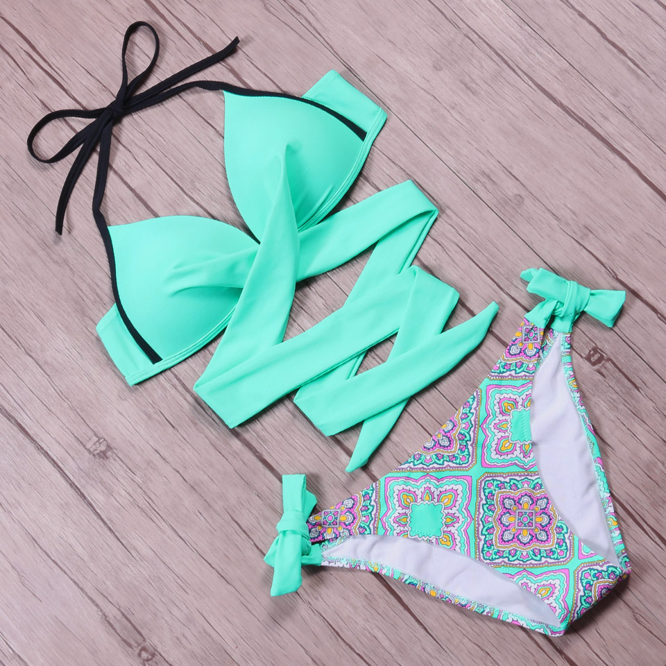 NAKIAEOI 19 Sexy Bikini Women Swimsuit Push Up Swimwear Criss Cross Bandage Halter Bikini Set Beach Bathing Suit Swim Wear XXL 44
