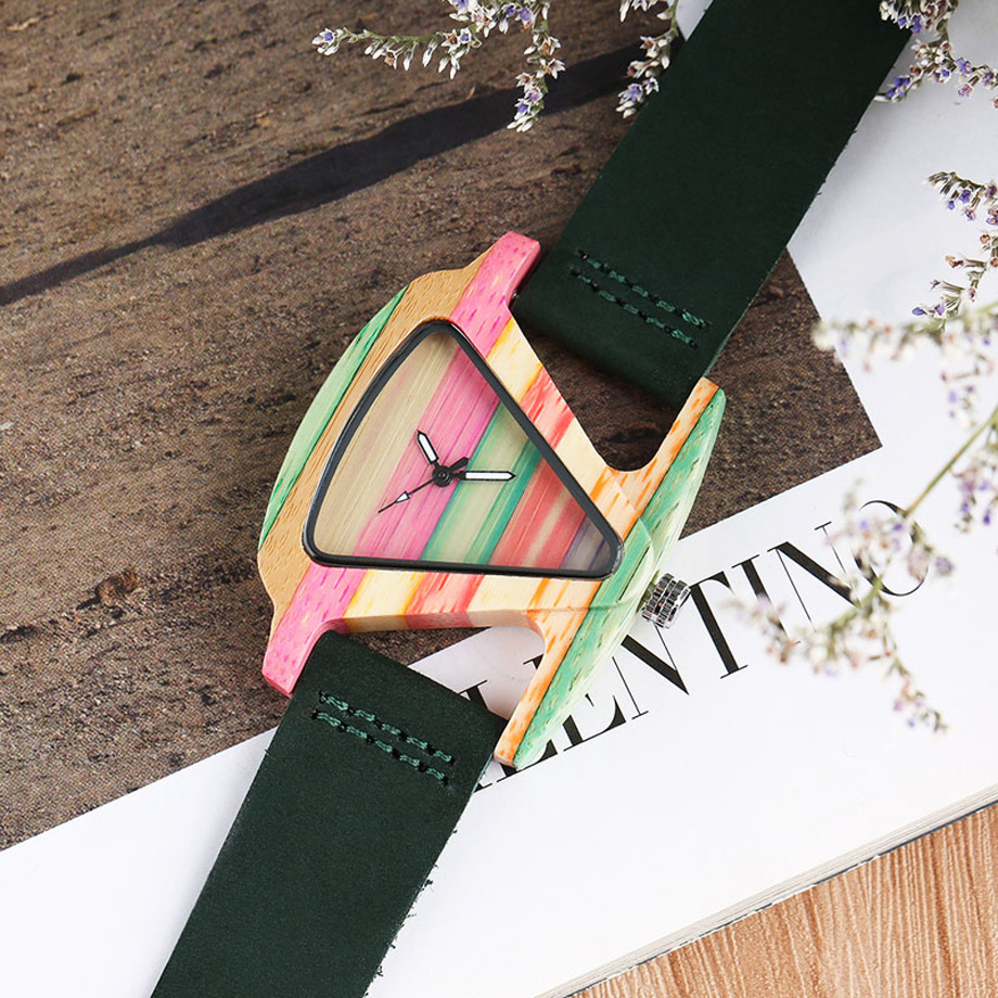 Creative Women Wood Watches Unique Colorful Wooden Triangle Hollow Quartz Wristwatch Ladies Elegant Fashion Genuine Leather Hour (11)