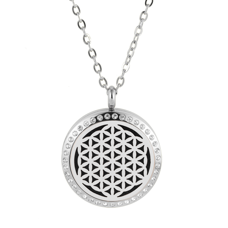 flower of life diffuser necklace silver gold rose gold 20mm 25mm 30mm locket jewelry (2)